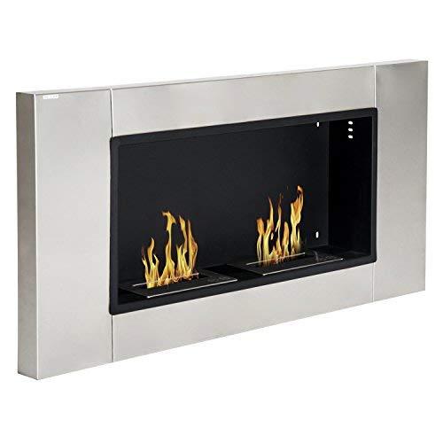 Homcom Cheminée bioéthanol Murale Design Bauhaus 2 brûleurs 3 L Couverture 25-30 m² Acier INOX brossé