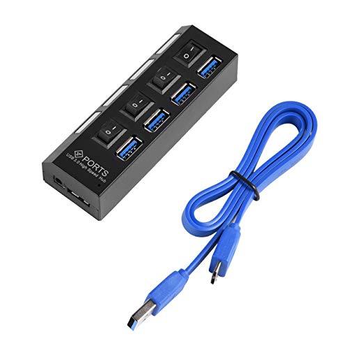 Ashley GAO Hub USB 3.0 de alta velocidad con 4 puertos de velocidad de 5 Gbps con interruptor de encendido/apagado y cable universal para PC, portátil, ordenador de sobremesa, color negro