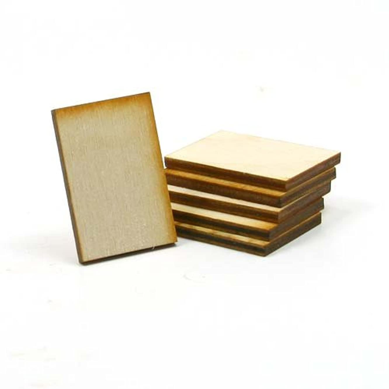 Mylittlewoodshop - Pkg of 25 - Rectangle - 1-1/2 inches by 1 inch with square corners unfinished wood(LC-RTSQ04-26)