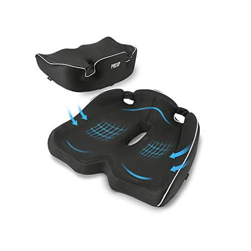 PREUP Sitzkissen, Premium Memory Foam Stuhlkissen Ergonomische Stuhl Stoff für Office Bürostuhl und Auto inkl, Erhöht Sitzkomfort