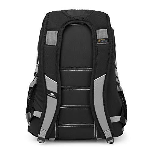 High Sierra Loop-Backpack, School, Travel, or Work Bookbag with tablet-sleeve, Black/Charcoal, One Size