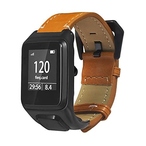 KDMB Reloj de Moda Compatible con 3 Correas - Correa de Reloj de Cuero Correa de Repuesto Correa de Acero Inoxidable Chapado con Hebilla Pulsera Compatible con 3 (Café)