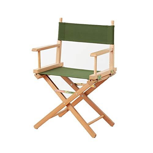 Silla portátil de camping portátil con marco de madera maciza, silla plegable para pesca, camping, camping, senderismo, camping muebles (color verde)