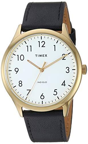 Timex TW2T71700 Men's Modern Easy Reader 40mm Black Leather Strap Watch