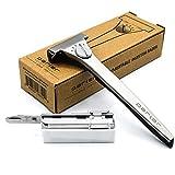 Maquinilla de afeitar de seguridad de inyección ajustable Parker - 20 hojas de maquinilla de afeitar de inyección Parker incluidas - Personalice su afeitado con un giro del dial