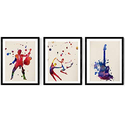 Nacnic Pack de láminas para enmarcar Viva LA Musica. Posters Estilo Acuarela con imágenes de música. Decoración de hogar. Láminas para enmarcar. Papel 250 Gramos