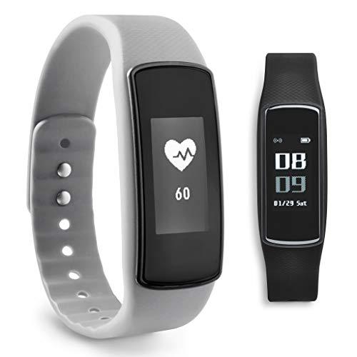 ADE Fitness Armband AM 1703 FITvigo (Schrittzähler, Puls, Kalorien, Schlaftracker, Smart Notifications, wasserdicht, Ersatzarmband) grau + schwarz