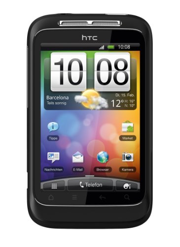 HTC Wildfire S Smartphone (8.1 cm (3.2 Zoll) Touchscreen, WiFi (b/g/n), Android OS 2.3.3) schwarz