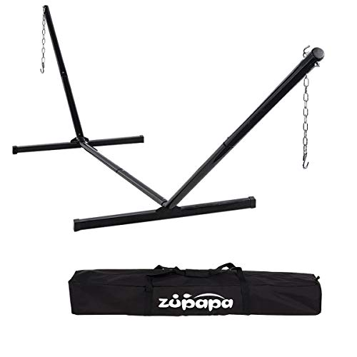 Zupapa 550lbs Weight Capacity 2 Point Portable Hammock Stand Only 2 Steel Chains 1 Carry Bag Included Fit for 12-15 Feet Hammocks