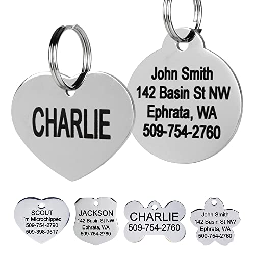GoTags Stainless Steel Pet ID Tags, Personalized Dog Tags and Cat Tags, up to 8 Lines of Custom Text Engraved on Both Sides, in Bone, Round, Heart, Bow Tie, Flower, Star and More (Heart, Regular)