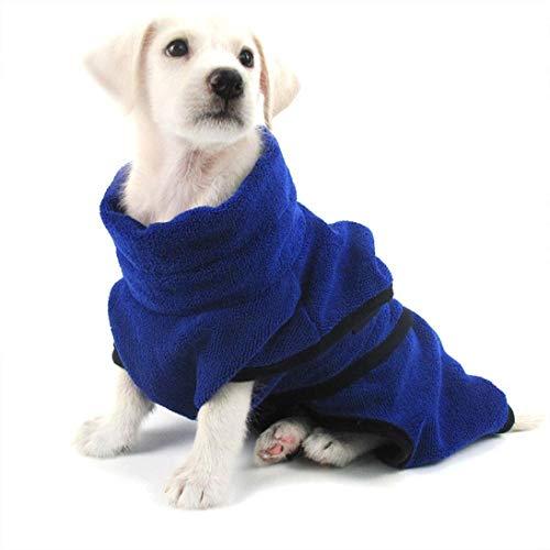YONFAN Hunde Bademantel Microfaser Extra Saugfähig Hundehandtuch Mantel für Kleine Große Hunde Welpen Katzen, Blau