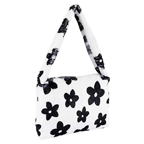 VALICLUD Hobo Shoulder Bag Women Plush Messenger Gag Fluffy Tote Bag Flower Handbag 90s Shoulder Bag