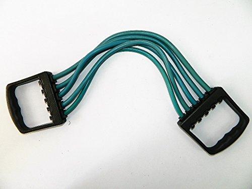 Extenseur poitrine / pectoraux avec 5 bandeaux élastiques amovibles pour musculation / fitness (jusqu'à 25kg de traction) - bleu