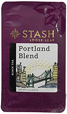Stash Tea Portland Blend Loose Leaf Tea, 3.5 Ounce Pouch Loose Leaf Premium Black Tea for Use with Tea Infusers Tea Strainers or Teapots, Drink Hot or Iced, Sweetened or Plain