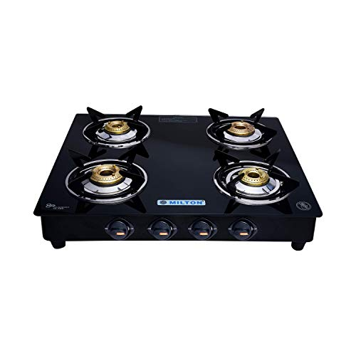 Milton Premium 4 Burner Glass Top (Black) LPG Stove with MS Frame & Brass Burners (ISI Certified)