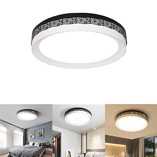 FGAITH Led-inbouw-plafondlamp, dimbaar, afstandsbediening verlichting, ronde lampen, bevestiging voor kasten, keukens, trappenhuizen, kelders, wasruimtes, zwart uiteinde