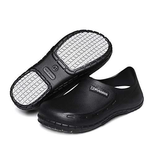 FULORIS Chef Nurse Shoes Men, Men Slip Resistant Oil Resistant Kitchen Shoes, Waterproof Garden Clogs for Men, Men's Black Indoor and Outdoor Food Service Work Clog (Black, 10.5)