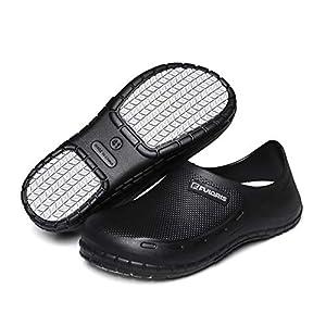 FULORIS Chef Nurse Shoes for Men, Men Slip Resistant Oil Resistant Waterproof Work Clog, Kitchen Shoes Garden Clogs for Men Indoor and Outdoor, Men's Black Health Care Shoes (Black, 9.5)