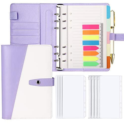 Onlyesh Budget Binder, 195 Pcs A6 Binder, Budget Binder with Cash Envelopes, Budget Planner with 6 Ring Binder, Loose Leaf Personal Organizer, Ideal A6 Planner Gift for Girls Women, Purple