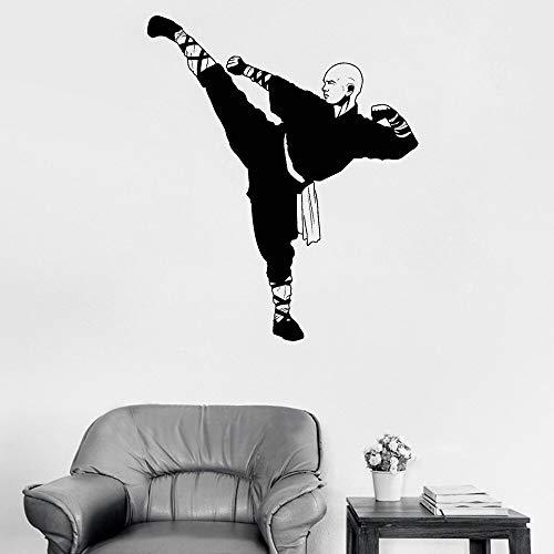 Tianpengyuanshuai Aufkleber Chinesisch Kung Fu Shaolin Mönch Vinyl Wandtattoo Samurai Asiatisch Aufkleber Wandbild 30X30cm