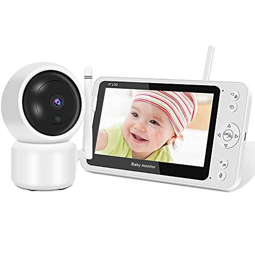 Babyphone mit Kamera,SHUMDHA 1080P Smart Babyphone,5 Zoll TFT LCD Bildschirm Video Baby Monitor 2,4 GHz mit VOX Modus Gegensprechfunktion/Nachtlicht/Temperatursensor Schlaflieder Lange Akkulaufzeit