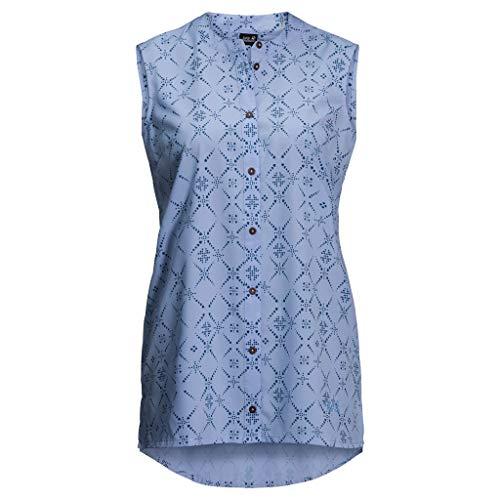 Jack Wolfskin Damen Sonora Maori Bluse, Shirt Blue All Over, XL