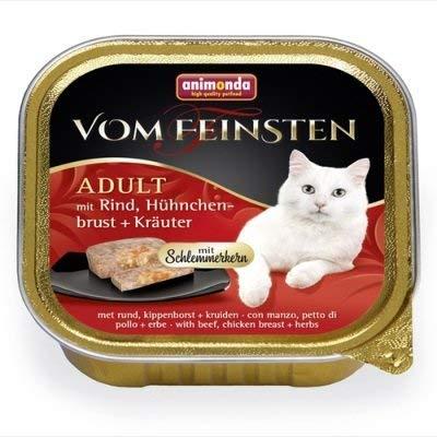 Animonda Katze Vom Feinsten Adult mit Schlemmerkern Rind, Hühnchenbrust + Kräuter 100g Größe 16 x 100g