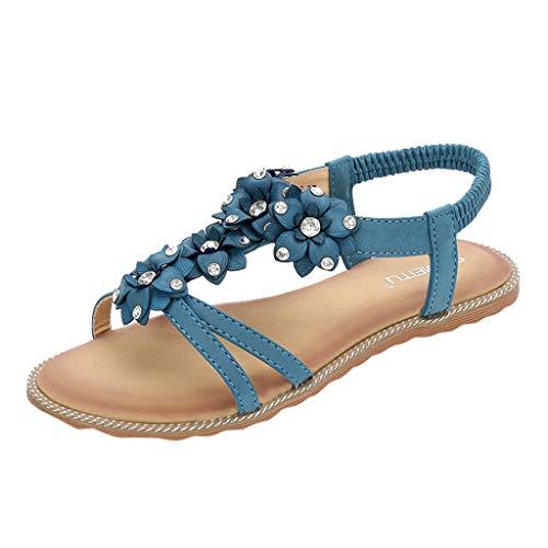 Zapatos de Playa Bohemios para Mujer,Zapatillas con Purpurina de Diamantes de ImitacióN Sandalias de Flores Sandalias con Tira Vertical para Mujer TamañO Grande Zapatos de CuñA Negro Beige 35-43 EU