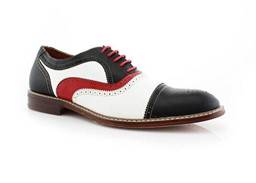 Ferro Aldo Men's 19355 Tri-Color Perforated Brogue Cap Toe Lace Up Dress Shoes, Black, 9.5