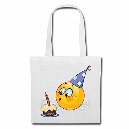 Tasche Umhängetasche Smiley ALS Geburtstagskind MIT Kuchen UND Kerze Smileys Smilies Android iPhone Emoticons IOS GRINSEGESICHT Emoticon APP Einkaufstasche Schulbeutel Turnbeutel in Weiß