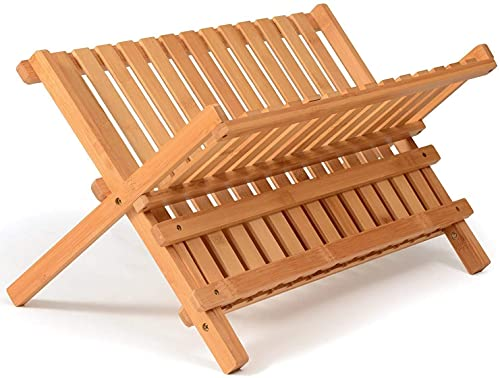 Escurreplatos Plegable De Madera Bambú - Escurridor De Platos con Alfombrilla Antideslizante - Organizador Fregadero Estante Cocina