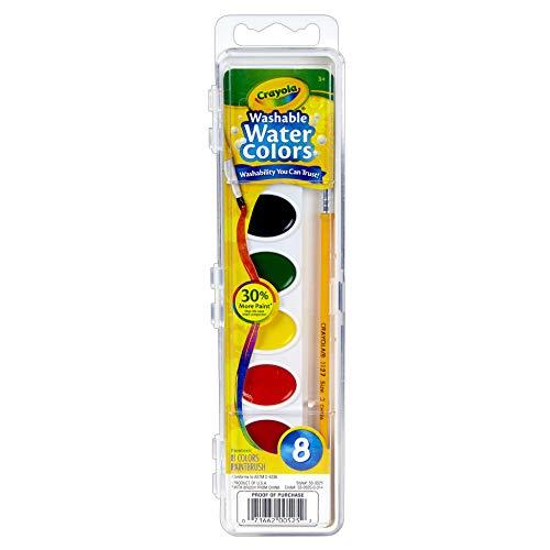 Crayola BIN525BN Semi-Moist Washable Watercolor Set, 8 Colors Per Set, 6 Sets