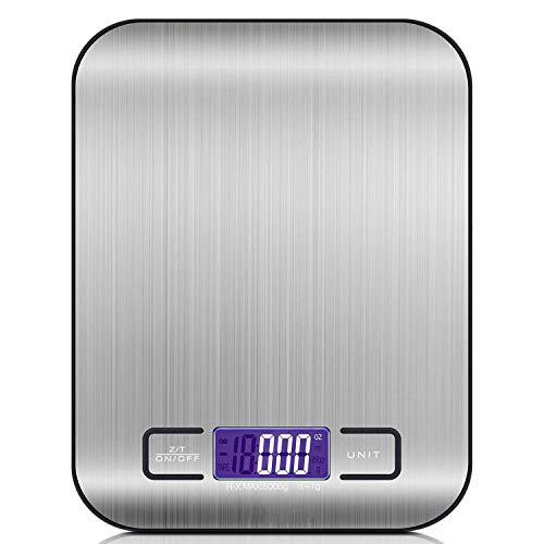 USCVIS Digitale Küchenwaage, elektronische Küchenwaage, 11 lb/5 kg, elektronische Waagen mit LCD-Display, Tara-Funktion, Batterien enthalten
