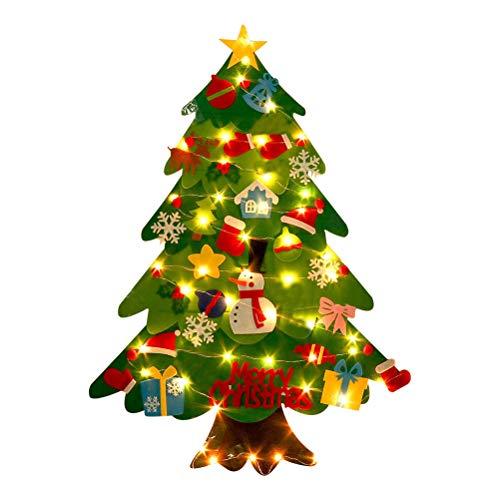 BOQIAN Árbol de Navidad de fieltro, árbol de Navidad suave con adornos y cuerda de luz, árbol de Navidad desmontable decorado para la familia