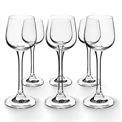 KADAX Wodkagläser mit Stiel, 60ml, 6er Set, Gläser für Wodka, Likör und Bunte Alkoholika, Tequilagläser, Schnapsgläser, Likörglas (60ml, 6 Stück)
