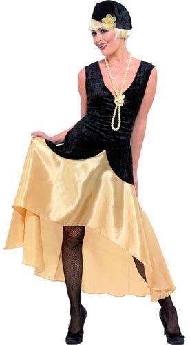 Smiffys Costume Gatsby Girl des années 20, noir et or, robe, chapeau et collier en perle