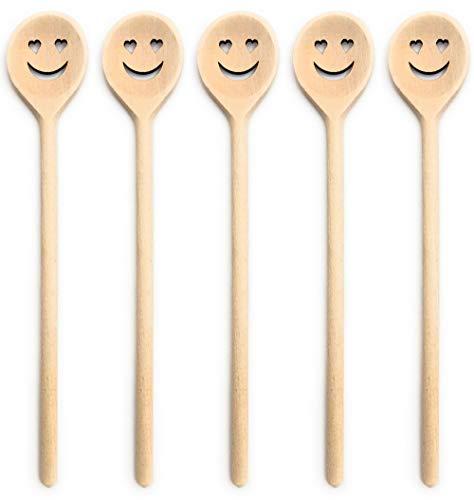 Balna 5 Stück Kochlöffel Holz Holzkochlöffel mit Gesicht Herz Augen Smiley Set Küchenutensilien Küchenhelfer