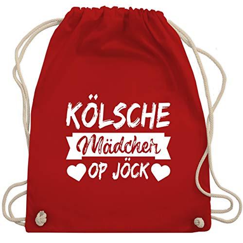 Shirtracer Karneval & Fasching - Kölner Sprichwort - Kölsche Mädcher op Jöck - weiß - Unisize - Rot - stoffbeutel köln karneval - WM110 - Turnbeutel und Stoffbeutel aus Baumwolle