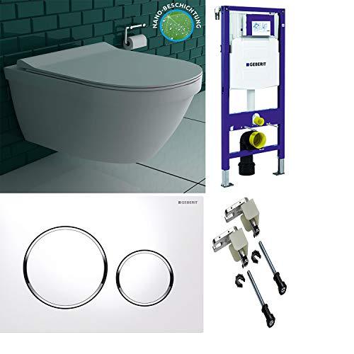Spülrandlose Lotuseffekt Hänge-Toilette inkl. abnehmbaren WC-Sitz Softclose mit GEBERIT Duofix UP320 Spülkasten & Geberit Duofix Bausatz & Betätigungsplatte SIGMA20 weiß/glanz-chrom, 2-Mengen-Spülung