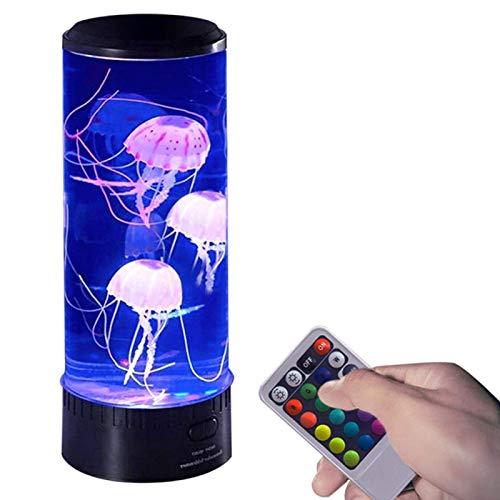 POHOVE Medusa Lámpara de Lava, Eléctrico Lindo LED Regulable Medusa Luz Ambiente Cambia de Color Noche Luz con Control Remoto USB Regalo para Decoración Hogar (Baterías No Incluye)
