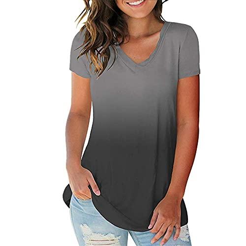 Camiseta Mujer Manga Corta Cuello V Moda Gradiente Tops Mujeres Elegante Cómodo Delgado Y Ligero Mujeres Camiseta Verano Deporte Casual Mujer Tops B-Gray M