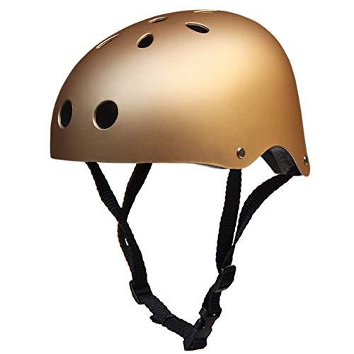 LHY Kinderhelm, Kinder städtisches Skateboard Inline-Skating Schutz Scooter Roller Skate Helm Jungen Mädchen Adjustable-Fahrrad-Helme,Gold,M