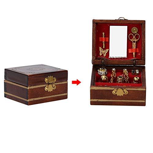 Mini joyero, accesorios de casa de muñecas, decoración de madera, decoración ligera de casa de muñecas DIY para un regalo maravilloso, decoración de la casa, juguetes, casa de muñecas