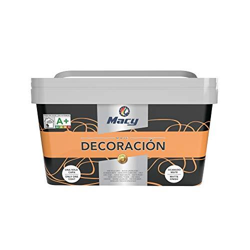 Macy Pintura Plástica Mate Decoración Interiores Excelente Cubrición, Acabado Perfecto. Color Naranja. 4 Litros