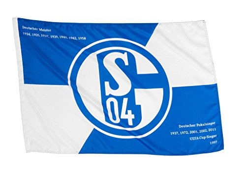 FC Schalke 04 Hissfahne/Hissflagge Erfolge 90x60 cm (Fahne) (2 Ösen)