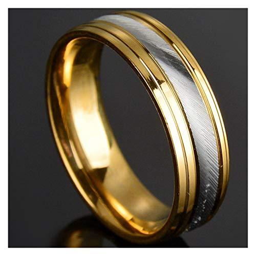 XYBH Anillo de acero de titanio punk, 8 mm, para hombre, con números romanos y números romanos para hombre, anillo de motocicleta, anillo de boda (piedra principal: 6 mm, tamaño del anillo: 10)