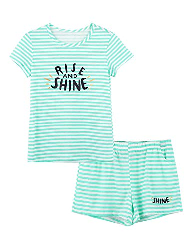 Summer Pajamas for Girls – Green Stripe & Glittering PJS Pal Cute Jammies Set Big Kids Size 10