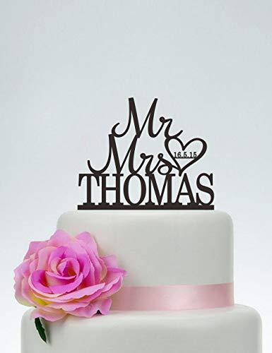 Decoración para tarta de boda con apellido, diseño de corazón