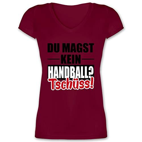 Handball WM 2019 - Du magst kein Handball? Tschüss! - XL - Bordeauxrot - V-Neck - XO1525 - Damen T-Shirt mit V-Ausschnitt