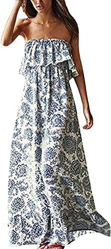 Yidarton Damen Sommer Kleider Blau und Weiß Porzellan Trägerlos Boho Maxi Lang Kleid àrmelloses CocktailKleid Strandkleid, Blau1, S